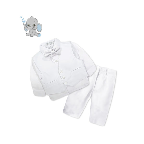 CQF516 Baby/Toddler Boys White Formal 4pcs Suit Set (000 to 2 Years)