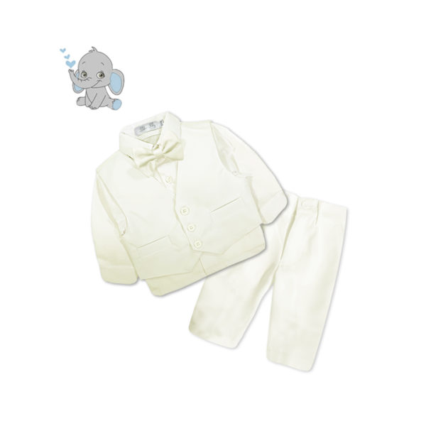 BC6QF1216 Baby/Toddler Boys Ivory 4pcs Suit Set (000 to 2 Years)
