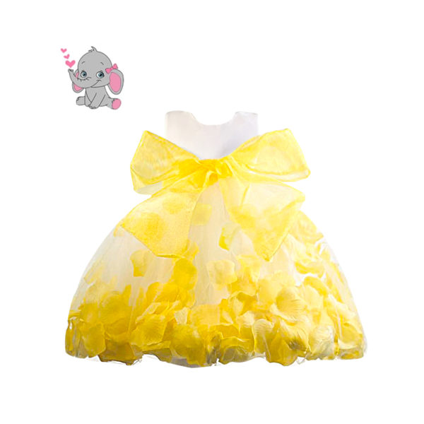 RDS1151Y Baby Girl's Yellow Petal Dress (3 Months to 2 Years)
