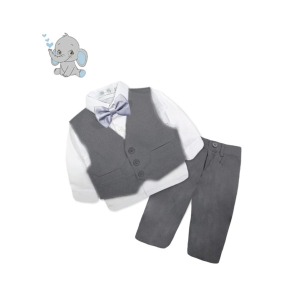 BCQF716 Baby/Toddler Boys Charcoal Formal 4pcs Suit Set (000 to 2 Years)