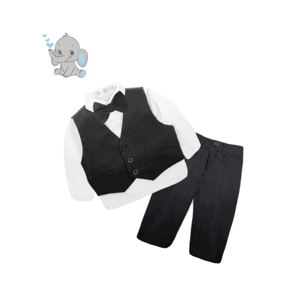 BC1QF116 Baby/Toddler Boys Black 4pcs Formal Suit Set (000 to 2 Years)
