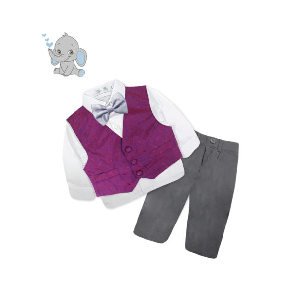 BDQF1016 Baby/Toddler Boys Maroon Confetti Vest 4pcs Suit Set (000 to 2 Years)