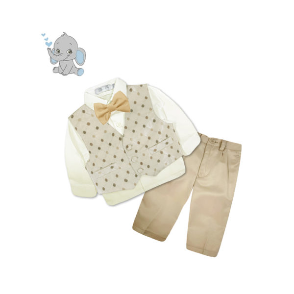 BCQF816GD Baby/Toddler Boys Silver Diamond Check Vest 4pcs Suit Set (000 to 2 Years)