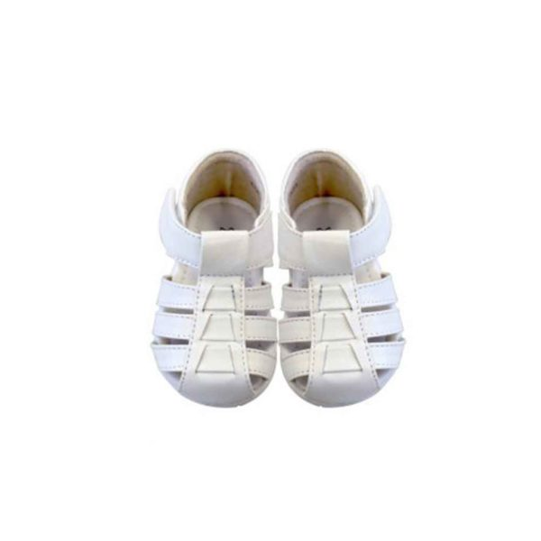 SA6108W UNISEX Baby Closed Toe Leather Sandals in White (3 to 6 Months)