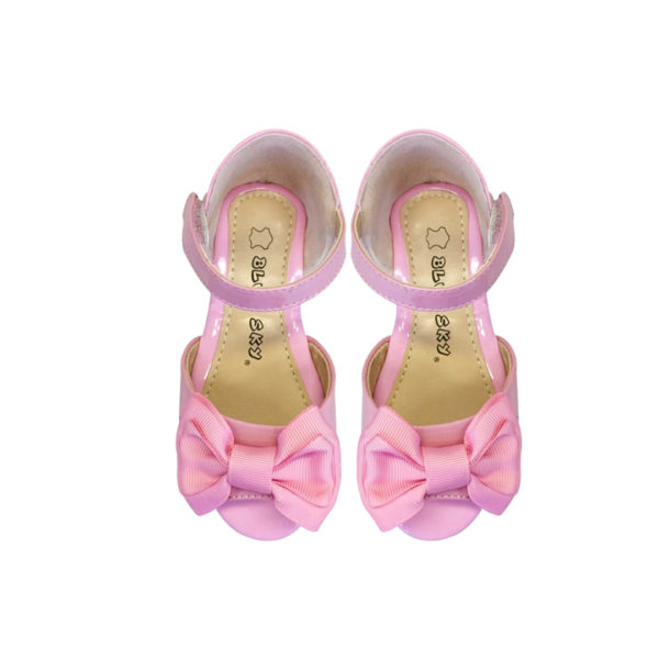 8110PK Girls Leather Dress Up Open Toe Sandals in Pink (1 to 5 Years)