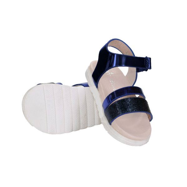 8120NV Girls Sparking Flat Sandals in Navy (1 to 7 Years) SPECIAL DEAL