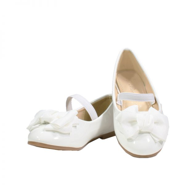8954W Girls Formal Flat Ballet Shoes in White (1 to 7 Years)