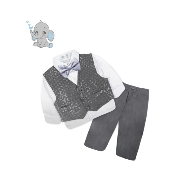 BDQF1116 Baby/Toddler Boys Silver Chain Link Vest 4pcs Suit Set (000 to 2 Years)