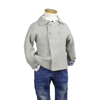 39f0a56eb7e Baby Boys Knitted Double Breasted Cardigan Grey/Navy/White QM613