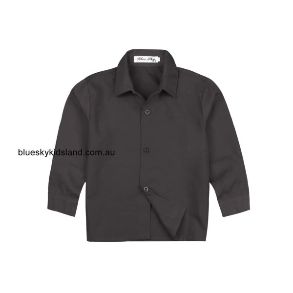 C1QFC-BKBK Boys Long Sleeve Formal Cotton Shirt Black