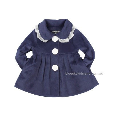 QY615NV Girls Classic Skater Coat Navy Color (1 to 10 Years)