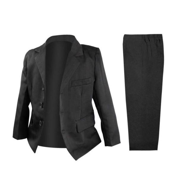 QF117BK Baby/Boys Black Jacket and Pants 2pcs Set