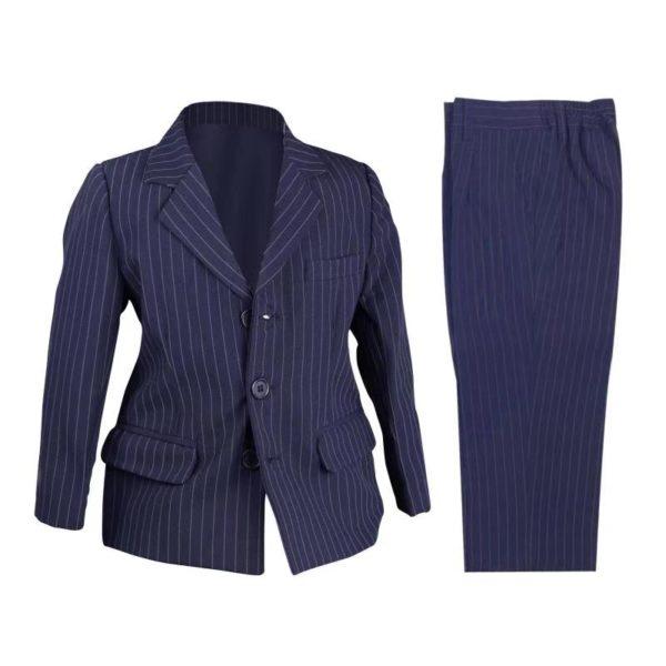 QF217NV Baby/Boys Navy Pinstripe Jacket and Pants 2pcs Set