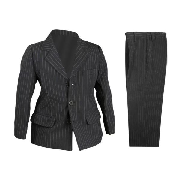 QF317BK Baby/Boys Black Pinstripe Jacket and Pants 2pcs Set