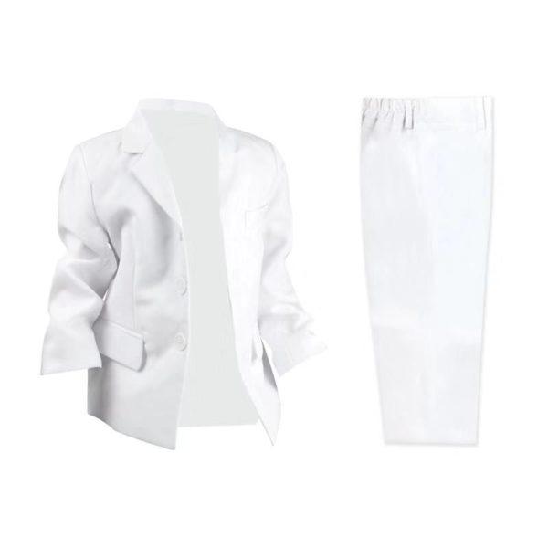 QF517W Baby/Boys White Jacket and Pants 2pcs Set