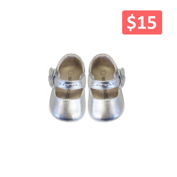 6202SV Girl Leather Mary Jane Shoes in Silver (3-20 Months)