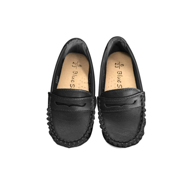 8866BK Unisex Slip On Loafers in Black (1 to 8 Years)