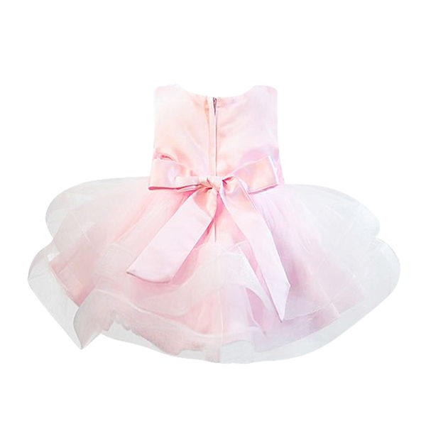 DDS588PK Girls Pink Satin Organza Party Dress (3 - 5/6 Years)