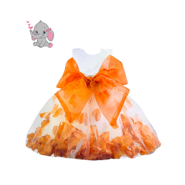 RDS1151ORG Baby Girl's Orange Petal Dress (3 Months to 2 Years)