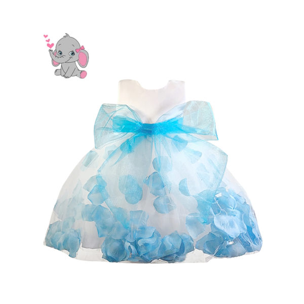 RDS1151LBU Baby Girl's Light Blue Princess Petal Dress (3 Months to 2 Years)
