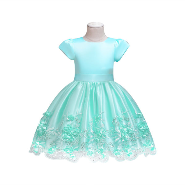 CDS658GN Girls Teal Satin Party Dress Embroidered Flower Skirt (2-7 Years)