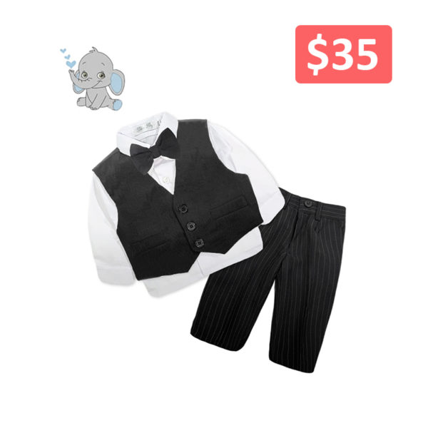 BAQF006BK Baby/Toddler Boys Black Vest and Black Pinstripe Pants 4pcs Suit Set (000 to 2 Years)