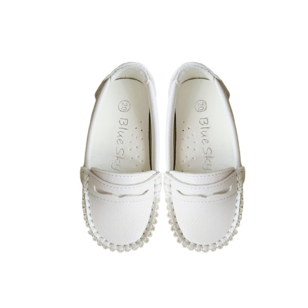 8866W Unisex Slip On Loafers in White (1 to 3 Years)