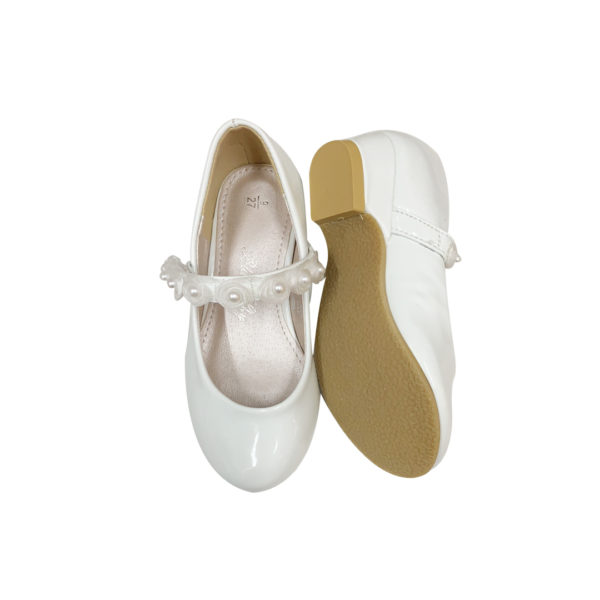9964W Girls Low Heel Formal Flower Girl Rose Strap Shoes in White (4 to 10 Years)