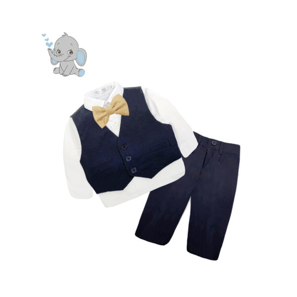 BC3QF1316 Baby/Toddler Boys Navy Formal 4pcs Suit Set (000 to 2 Years)