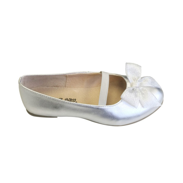 9954SV Girls Flat Ballet Leather Shoes in Silver (3 to 10 Years)