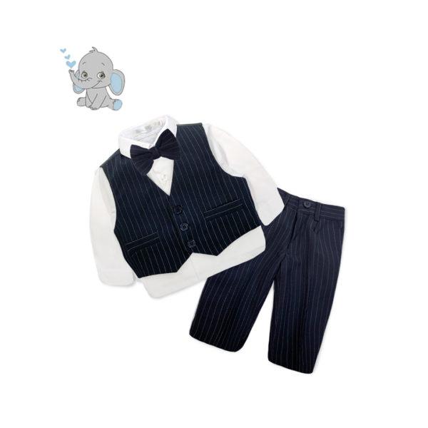 BC4QF216 Baby/Toddler Boys Formal 4pcs Suit Set Navy Pinstripe Pattern (000 to 2 Years)