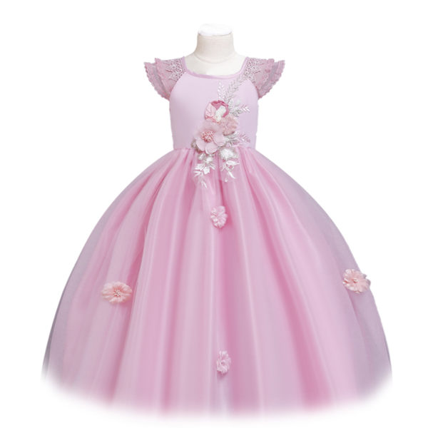 Hand Sewn Floral Gown in Pink 6-12