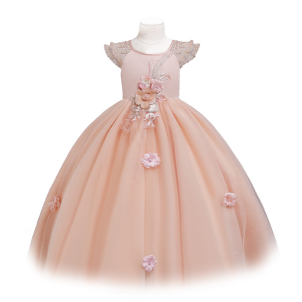 Hand Sewn Floral Gown in Peach 6-12
