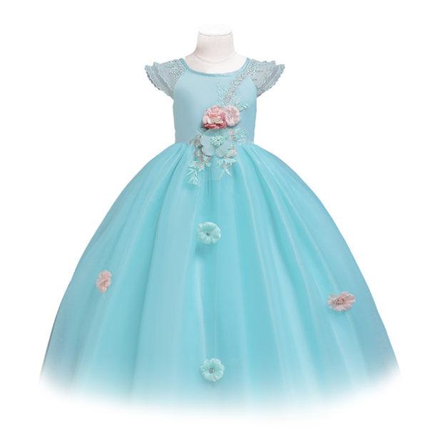 CDDS641LGN Girls Satin Formal Dress Multi-Layer Tulle Skirt in Light Blue (5-12 Years)